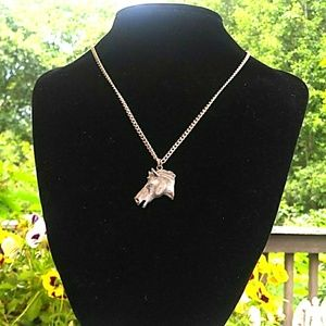 VINTAGE Pewter Horse Head SilverTone Chain Necklac